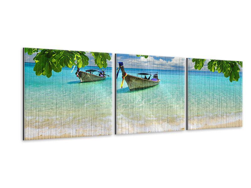 Panorama Metallic-Bild 3-teilig Ein Blick auf das Meer