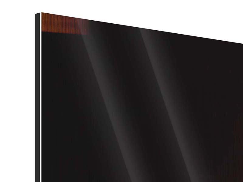 Panorama Metallic-Bild 3-teilig Der Kamin