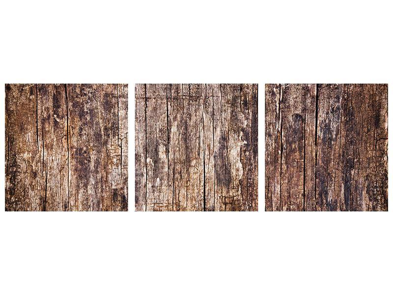 Panorama Metallic-Bild 3-teilig Retro-Holz