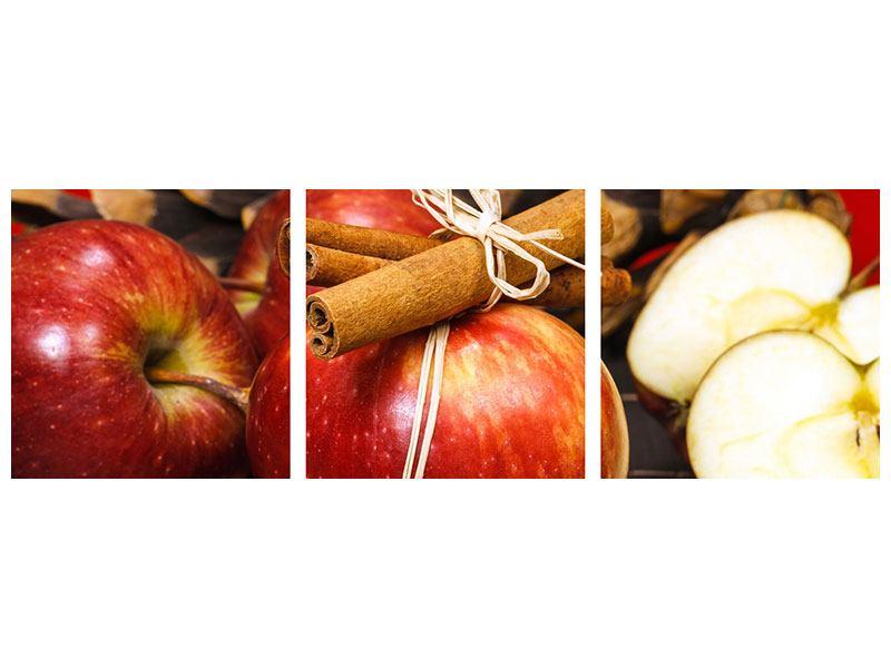 Panorama Metallic-Bild 3-teilig Äpfel