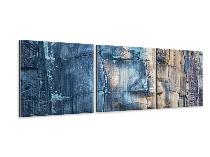 Panorama Metallic-Bild 3-teilig Buddha Statur