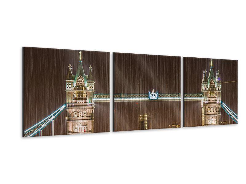 Panorama Metallic-Bild 3-teilig Tower Bridge bei Nacht