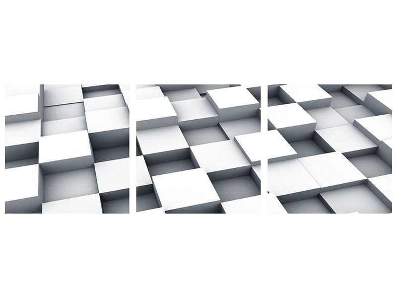 Panorama Metallic-Bild 3-teilig 3D-Kubus