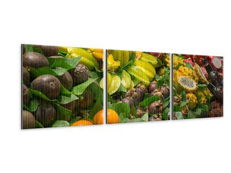 Panorama Metallic-Bild 3-teilig Früchte