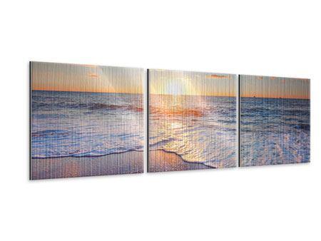 Panorama Metallic-Bild 3-teilig Sonnenuntergang am Horizont