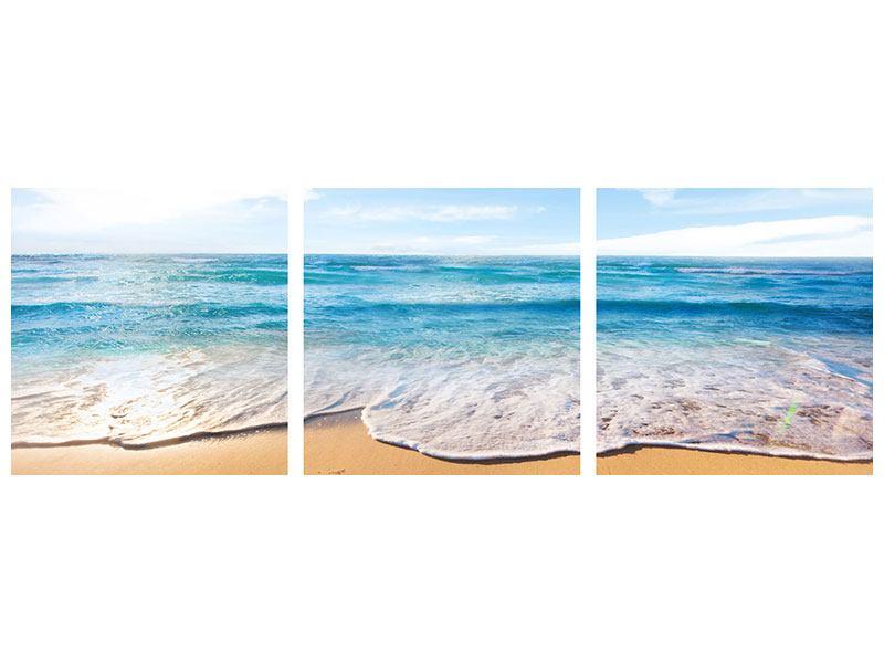Panorama Metallic-Bild 3-teilig Spuren im Sand