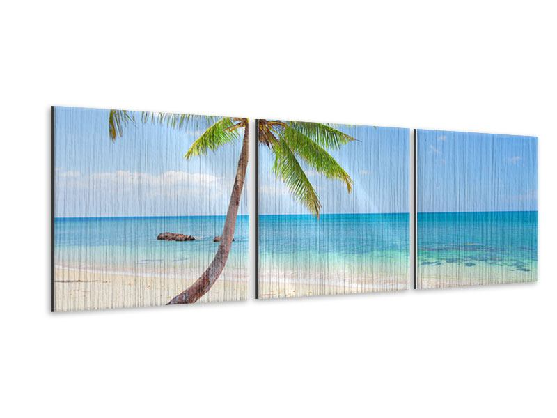 Panorama Metallic-Bild 3-teilig Die eigene Insel