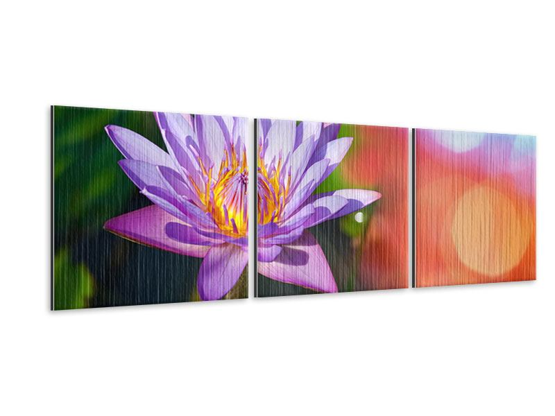 Panorama Metallic-Bild 3-teilig Colored Lotus