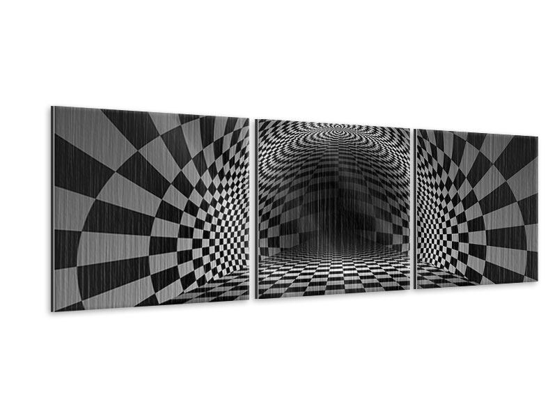 Panorama Metallic-Bild 3-teilig Abstraktes Schachbrett