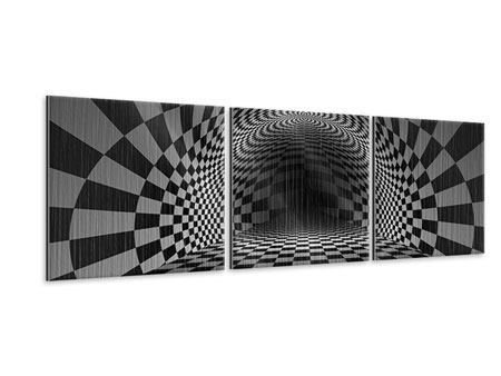 Panoramic 3 Piece Metallic Print Abstract Chessboard