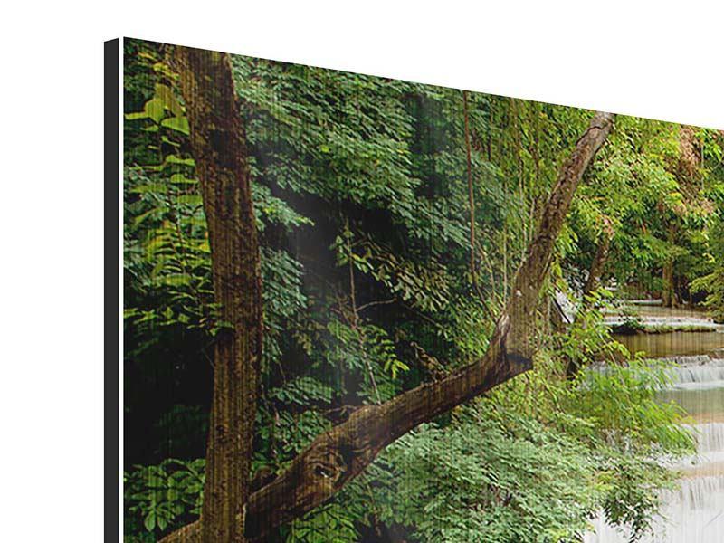 Panorama Metallic-Bild 3-teilig Im Baumhaus