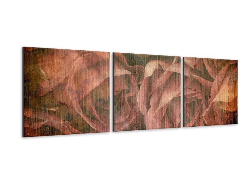 Panorama Metallic-Bild 3-teilig Rosenbukett