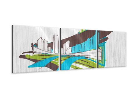 Panorama Metallic-Bild 3-teilig Graffiti Street-Art