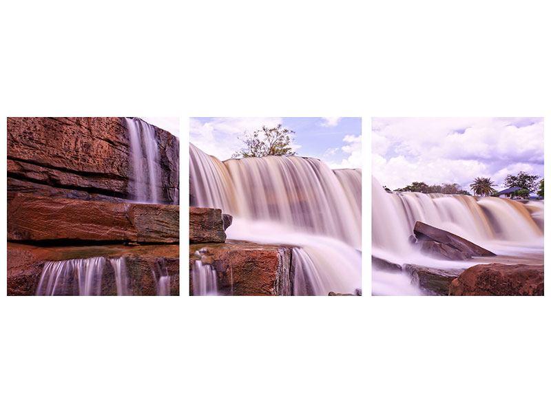 Panorama Metallic-Bild 3-teilig Himmlischer Wasserfall