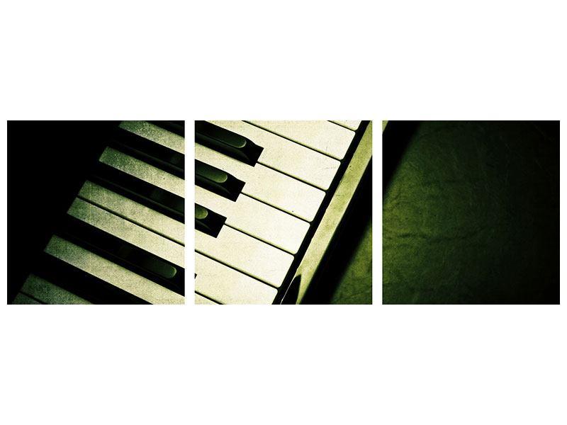 Panorama Metallic-Bild 3-teilig Close Up Klavier