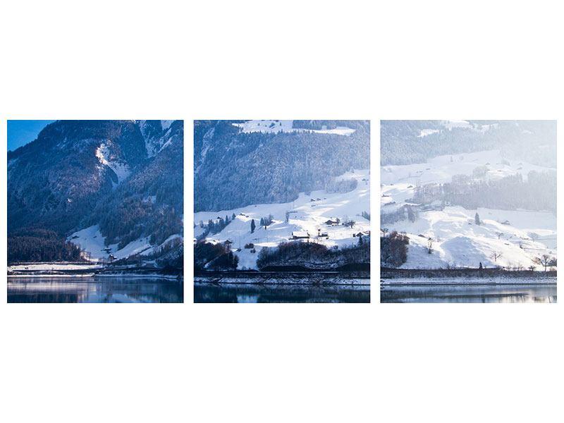 Panorama Metallic-Bild 3-teilig Winterwunderland