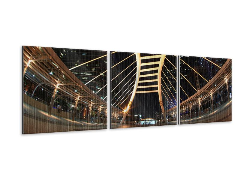 Panorama Metallic-Bild 3-teilig Avantgardistische Brücke