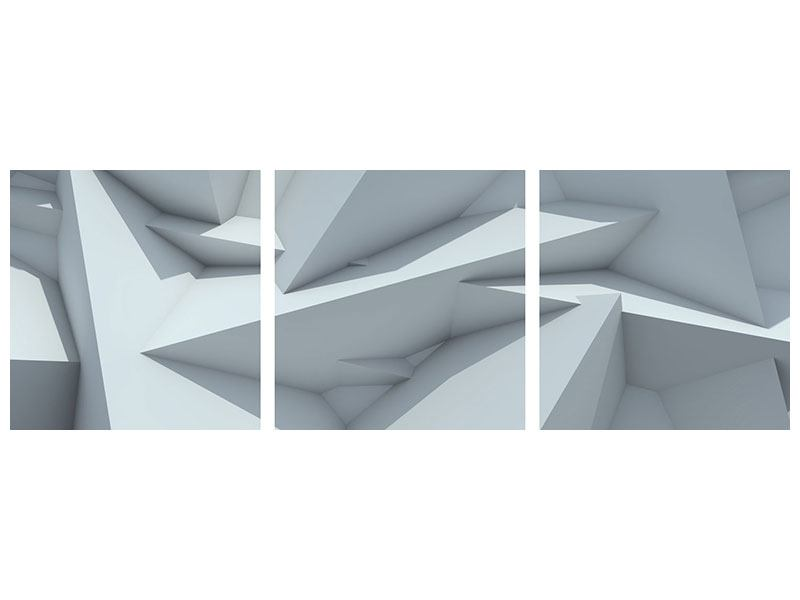 Panorama Metallic-Bild 3-teilig 3D-Kristallo