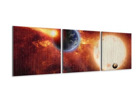 Panorama Metallic-Bild 3-teilig Der Kosmos