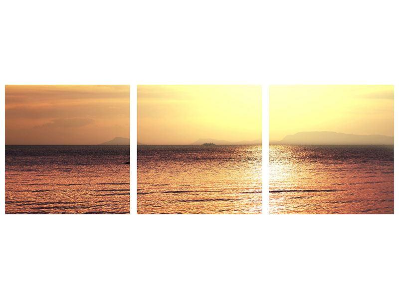 Panorama Metallic-Bild 3-teilig Sonnenuntergang an der See