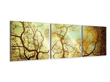 Panorama Metallic-Bild 3-teilig Bäume im Herbst