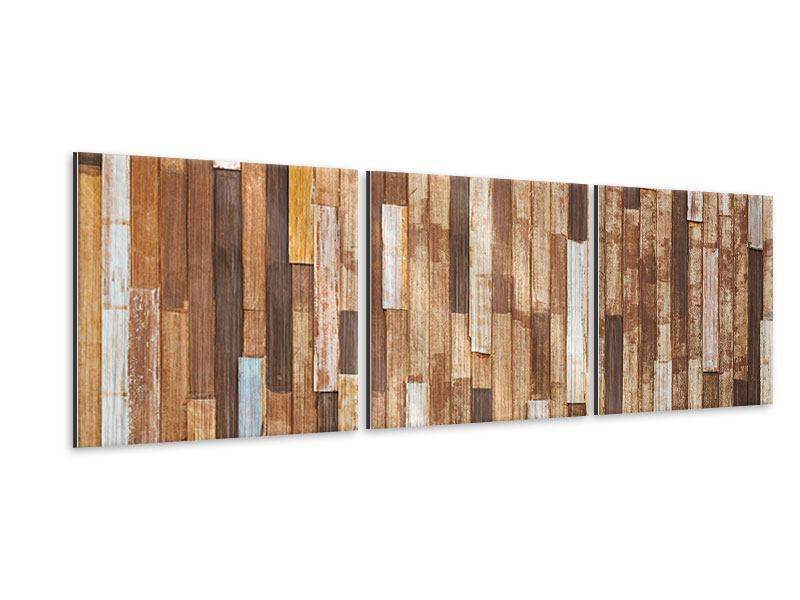 Panorama Metallic-Bild 3-teilig Designholz