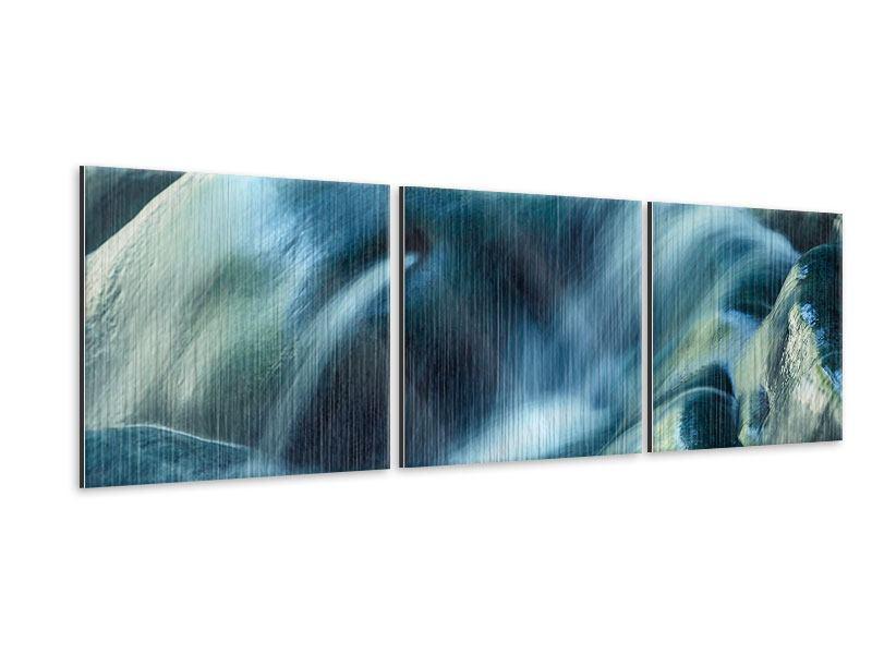 Panorama Metallic-Bild 3-teilig Das Fliessende Wasser