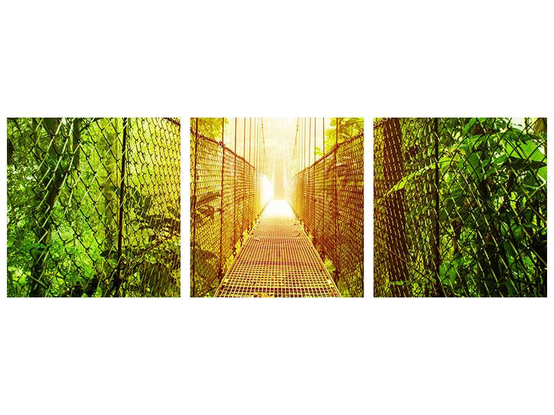 Panorama Metallic-Bild 3-teilig Hängebrücke