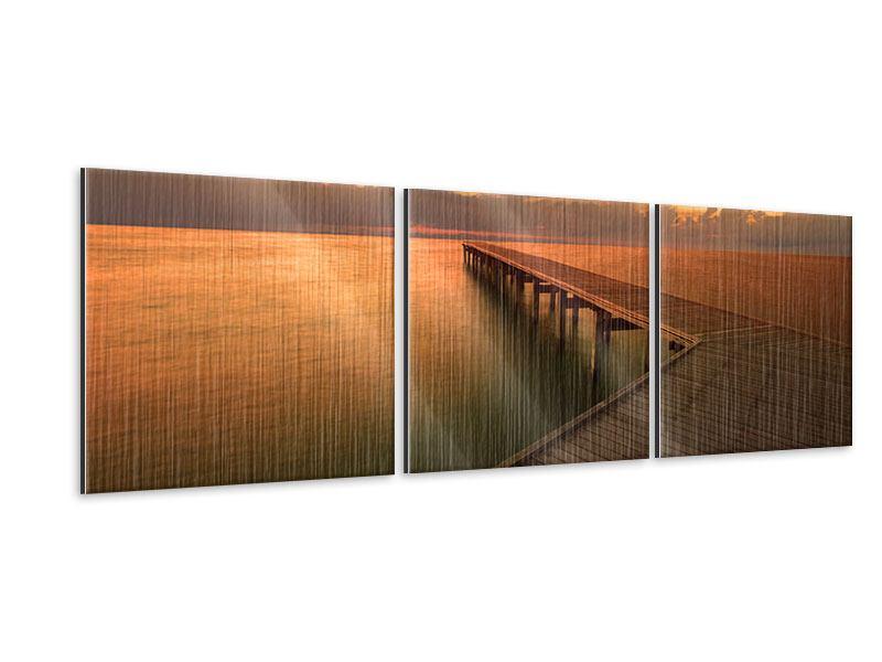 Panorama Metallic-Bild 3-teilig Der Steg am Meer