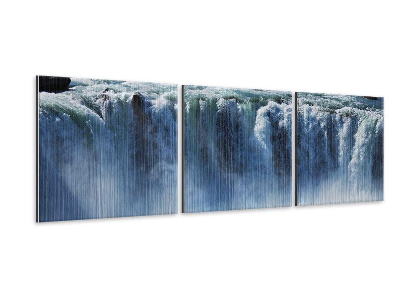 Panorama Metallic-Bild 3-teilig Mächtiger Wasserfall