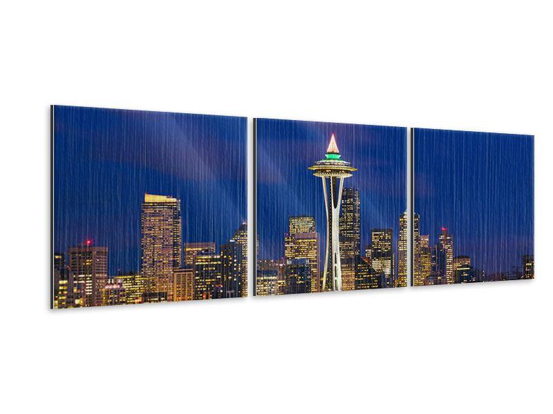 Panorama Metallic-Bild 3-teilig Skyline Seattle