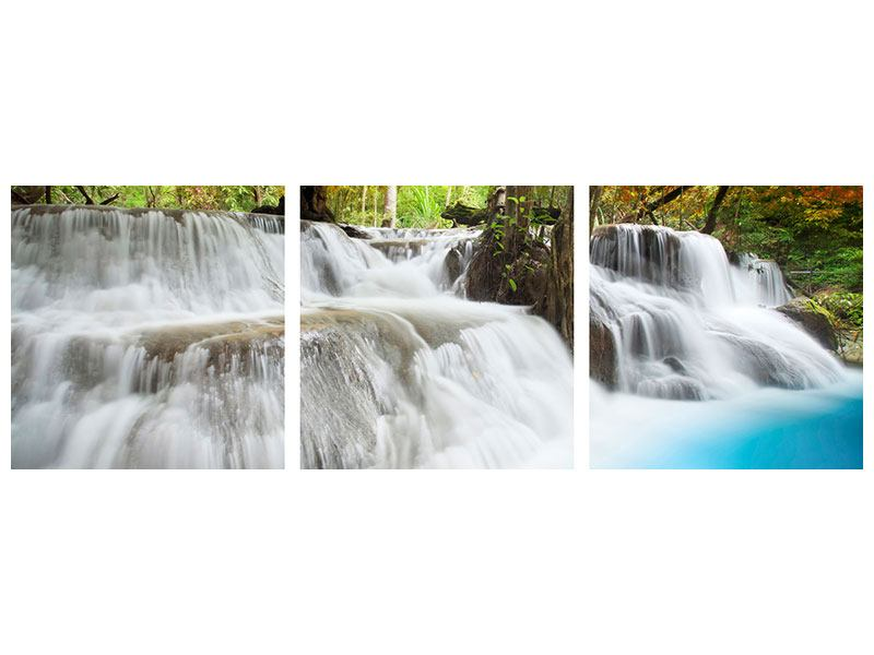 Panorama Metallic-Bild 3-teilig Erawan Wasserfall