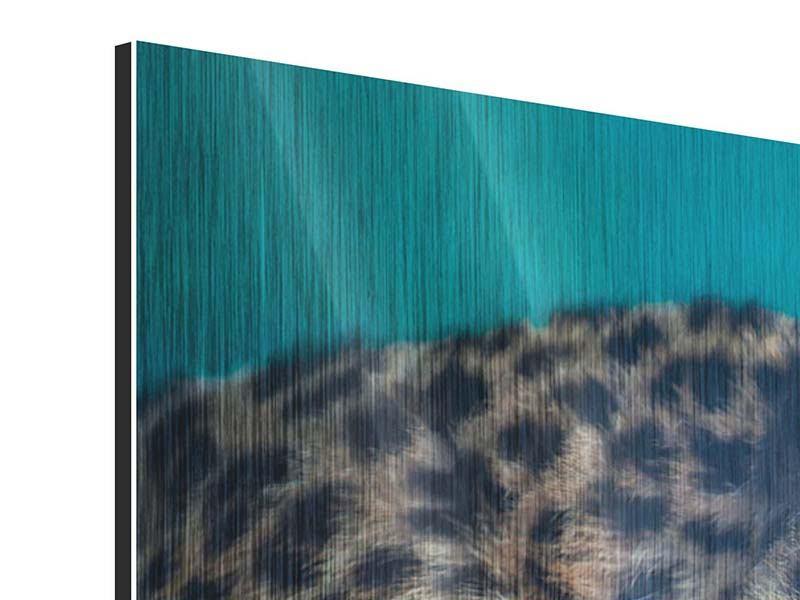 Panorama Metallic-Bild 3-teilig Leopard XL
