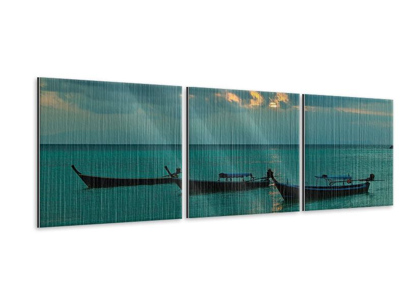 Panorama Metallic-Bild 3-teilig Ozean