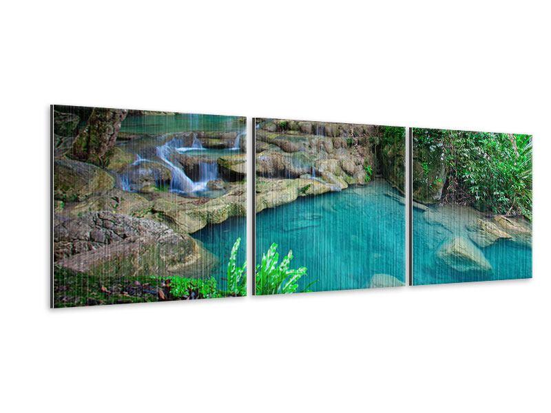 Panorama Metallic-Bild 3-teilig Am Fusse von Erawan