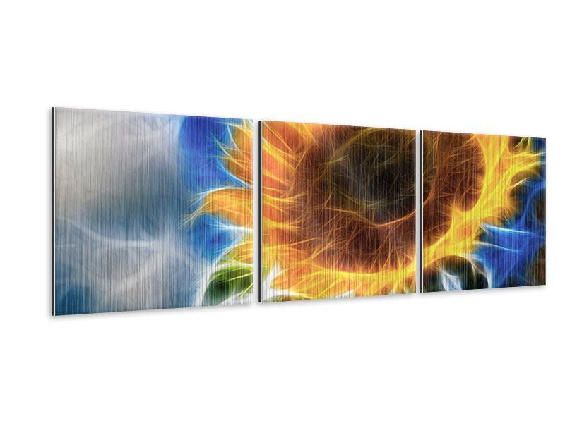 Panorama Metallic-Bild 3-teilig Der Sonne entgegen