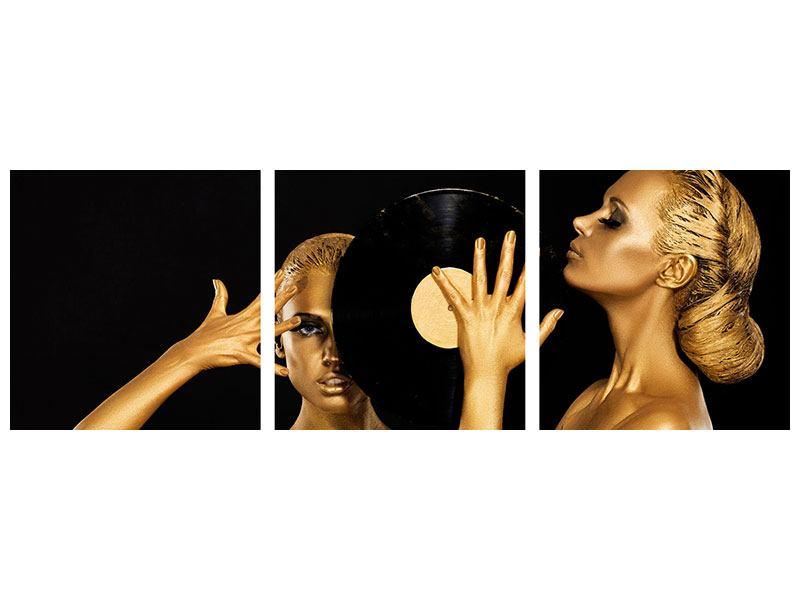 Panorama Metallic-Bild 3-teilig Gold-DJ`s