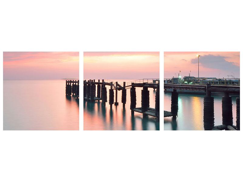 Panorama Metallic-Bild 3-teilig Der beruhigende Sonnenuntergang