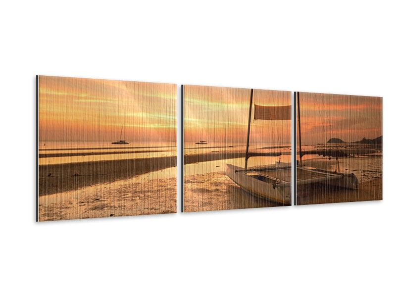 Panorama Metallic-Bild 3-teilig Sonnenuntergang am Strand