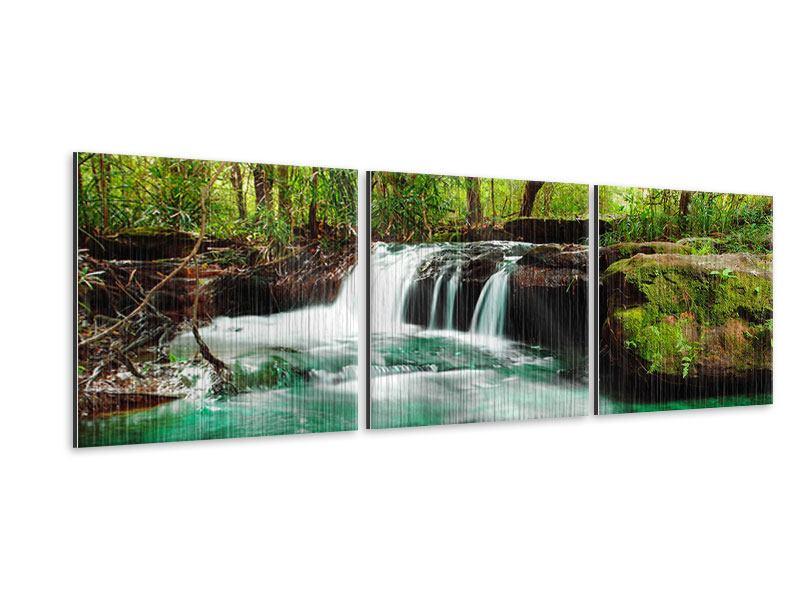 Panorama Metallic-Bild 3-teilig Der Fluss am Wasserfall