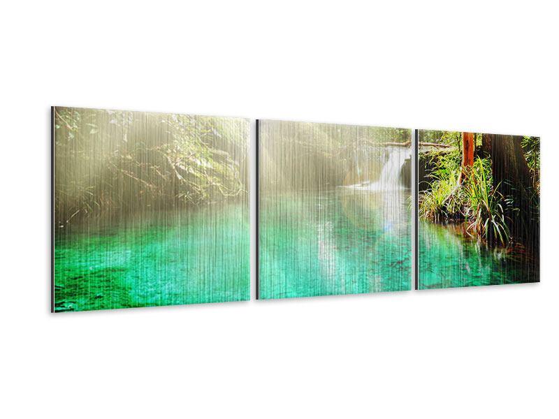 Panorama Metallic-Bild 3-teilig Die grüne Lagune