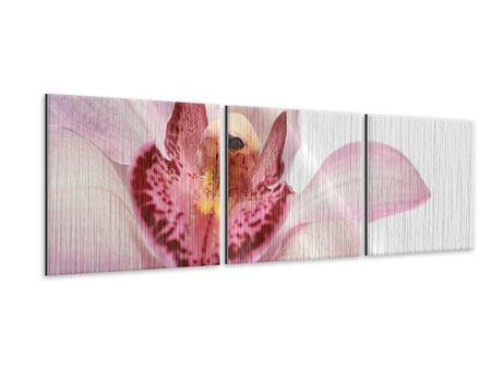 Panorama Metallic-Bild 3-teilig Orchideenblüte XXL