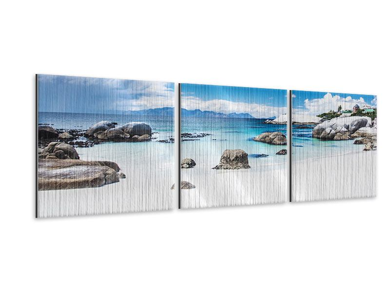 Panorama Metallic-Bild 3-teilig Inselfeeling