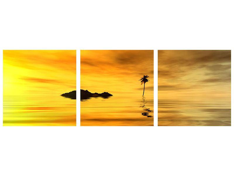 Panorama Metallic-Bild 3-teilig Ab auf die Insel