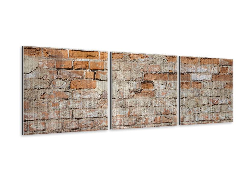 Panorama Metallic-Bild 3-teilig Alte Klagemauer