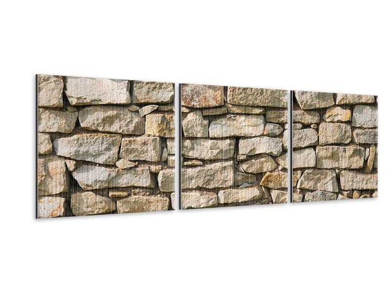 Panorama Metallic-Bild 3-teilig Natursteine