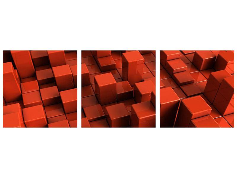 Panorama Metallic-Bild 3-teilig 3D-Rechtkant