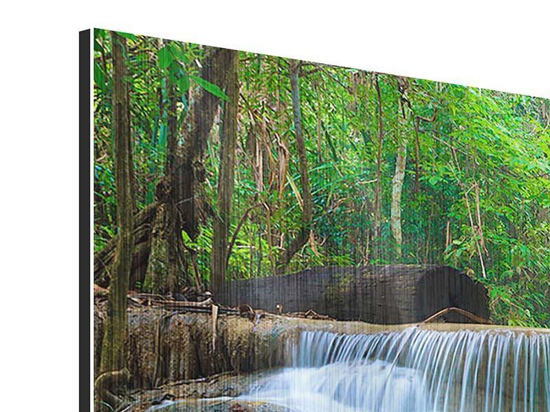 Panorama Metallic-Bild 3-teilig Kaskaden Huay Mae Khamin