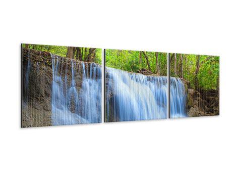 Panorama Metallic-Bild 3-teilig Wasserfall Si Nakharin