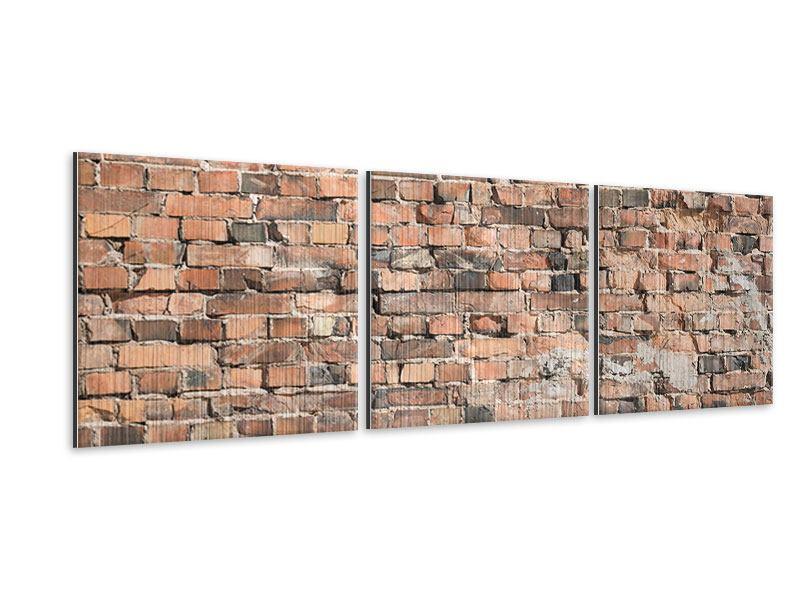 Panorama Metallic-Bild 3-teilig Alte Backsteinmauer